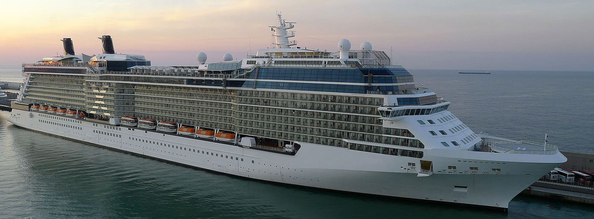 A Cruise Liner, gets ready to set sail after obtaining a ship loan