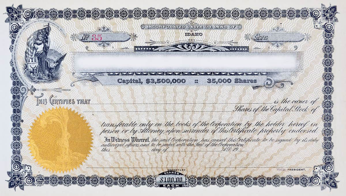 Capital Shares Certificate, used for mergers and acquisitions transactions