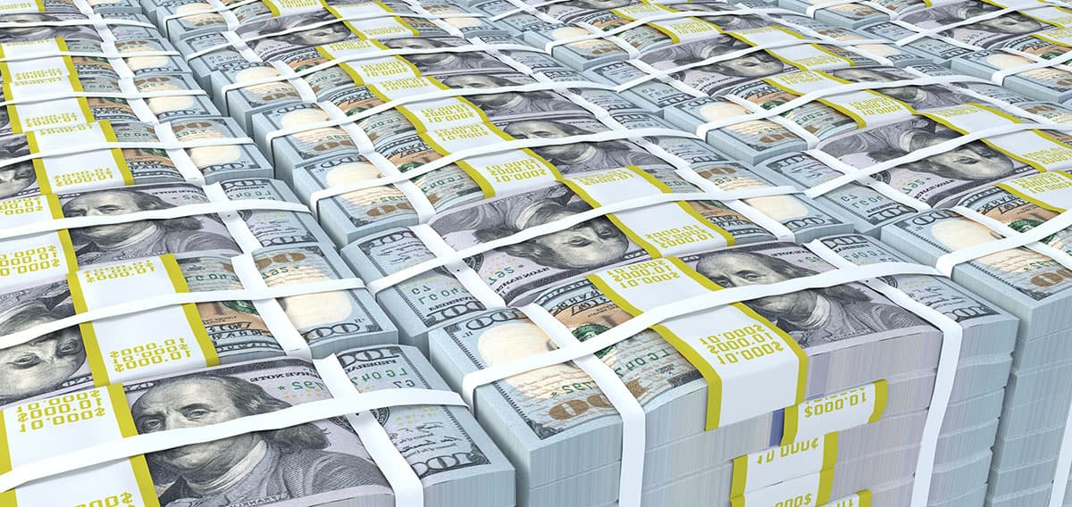 Stacks of cash used for an M&A transaction